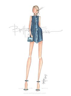 Fray | denim | spring | fashion illustration | Brittany Fuson