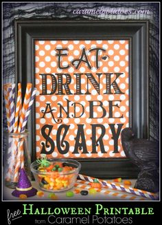 Eat Drink and be SCARY {free Halloween printable}