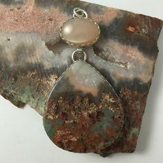 Prudent Man Plume Agate Peach Moonstone Pendant by gltstudio