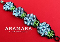 Mexican Huichol Beaded Peyote Bracelet PF-0028 Mexican by Aramara