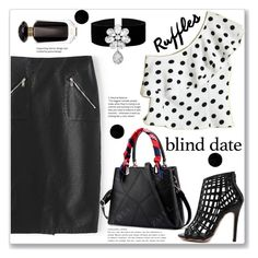 """Syteet Style"" by jecakns ❤ liked on Polyvore featuring Victoria's Secret, PolkaDots, pencilskirt, oneshoulder, blinddate and zaful"