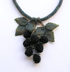"necklace ""Berries with Blackberries"" Alexander Matvienko -- I believe this is crocheted, but I couldn't find any information about it. I guess this will just have to be an inspiration. Seed Bead Jewelry, Beaded Jewelry, Handmade Jewelry, Beaded Necklace, Necklaces, Pendant Necklace, Jewellery, Bead Embroidery Jewelry, Beaded Embroidery"