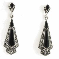 Onyx Art Deco Inspired Earrings Jewellery In Sterling Silver And Marcasite