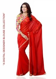 Buy Semi Pure Georgette Saree with Digital Print Blouse