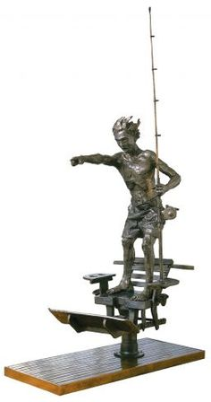 """The Pointing Boy"", #bronze #sculpture by #artist Cedric Loth at #Gallery Saint-Dizier"