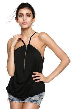 New Women Fashion Spaghetti Strap Sexy V-Neck Casual Solid Front Zipper Cami Top