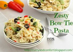 Zesty Bow Tie Pasta Salad: This recipe is perfect for our family. Youngest doesn't care for tomatoes so I like the substitution. Also like that this is NOT mayo based.