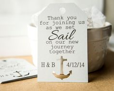 DETAILS ---- Size: 3 x 1.9 inches Material: 65 lb white card stock Color: You choose the color of the cardstock from last picture (pictured is grey) ---- ORDERING ---- When ordering please leave the details for your order in the note to seller section. The details should include: ♥ Bride and groom initials ♥ Color # choice for the cardstock, choices listed in last picture ♥ Any changes to wording ♥ Any font changes** ** Font choices can be found at www.fontsquirrel.com, if no font ch...
