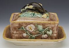 Antique English Majolica | Rare Antique English Majolica Sardine Dish With Fish And Flowers c ...