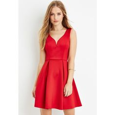 Forever 21 Women's  Pleated A-Line Dress ($30) ❤ liked on Polyvore featuring dresses, red a line dress, full length dress, red dress, a line dress and a line cocktail dress