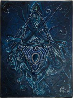 Painting  Soutache necklace Blu Spirit