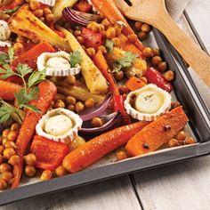 Pois chiches et légumes à l'érable cuits sur la plaque