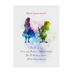 * Available sizes 10 x 8 Inches x x x For sale direct from the artist Original Art Print Alice in Wonderland Mad Hatter Quote illustration created with Mixed Media and a Contemporary Design Have I gone Art Prints Quotes, Art Quotes, Inspirational Quotes, Quote Art, Motivational, Nice Quotes, Lyric Quotes, Funny Quotes, Watercolor Quote