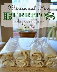 Chicken and rice frozen burritos... substitute with homemade taco seasoning, brown rice and homemade shells for cleaner burritos. Freezer Friendly Meals, Easy Freezer Meals, Make Ahead Meals, Freezer Cooking, Cooking Recipes, Freezer Recipes, Cooking Tips, Bulk Cooking, Kid Recipes