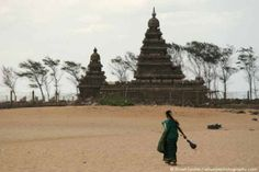 Woman on Mahabalipuram Beach, by the Shore Temple. Photo by Stuart Forster.