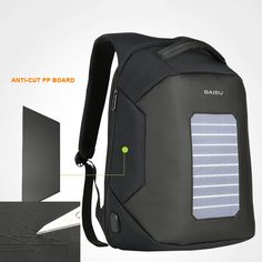 Men Backpack Solar Powered Backpack Usb Charging Anti-Theft 15.6'' Laptop Backpack  Price: 1243.95 & Flat Rate Shipping  #hashtag1 Men's Backpack, North Face Backpack, Solar Powered Backpack, Flat Rate, Usb, Backpacks, Bags, Shoes, Handbags
