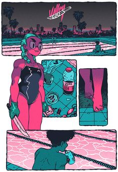 Guillaume Singelin – Valley Girl The color palette 👌👌 Comic Book Layout, Comic Book Pages, Comic Books Art, Comic Art, Book Art, Comics Illustration, Illustrations, Realistic Drawings, Cool Drawings