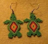 Turtle Earrings by mysticbeader on Etsy, $5.00