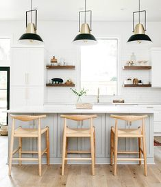 LIGHTS branchbasics shares her Inmod stools in her kitchen living space. Farmhouse Style Kitchen, Modern Farmhouse Kitchens, Home Decor Kitchen, Rustic Kitchen, Kitchen Living, Kitchen And Bath, New Kitchen, Home Kitchens, Space Kitchen