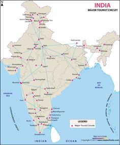 Map showing major tourist circuits in India. India World Map, India Map, Geography Map, Teaching Geography, Colouring Pages, Printable Coloring Pages, Indian River Map, World Map Outline, Tourist Center