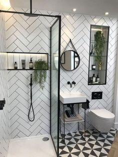 Contemporary Bathroom Inspiration, Contemporary Bathroom Mirrors, Small Bathroom Inspiration, Contemporary Tile, Inspiration Wall, Grey Modern Bathrooms, Bathroom Grey, Tile Bathrooms, Master Bathroom