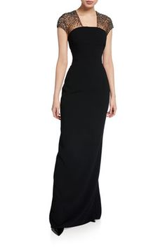 Escada Glihana Sheer Beaded Cap-sleeve Gown In Black Evening Gowns With Sleeves, Vintage Evening Gowns, Evening Dresses, Cap Sleeve Gown, Cap Sleeves, Indian Evening Gown, Gala Dresses, Bride Dresses, Latest Fashion Dresses
