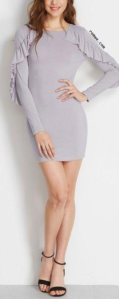 Light Grey Ruffle Trim Bodycon Dress