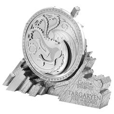 Fascinations ICONX Game of Thrones Targaryen Sigil Unassembled Metal Model Metal Earth Models, Metal Models, Earth Games, Kit Games, Metal Model Kits, Laser Cut Steel, 3d Laser, Silver Dragon, Metal Gear Solid