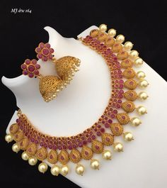 For details ping WhatsApp messenger 09947840682 Different designs are available Red Choker Necklace, Silk Thread Necklace, Bridal Necklace, Wedding Jewelry, Necklace Set, Jewelry Design Earrings, Pink Jewelry, Fashion Earrings, Fashion Jewelry