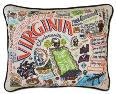 "Go Cavaliers! Celebrate The University of Virginia with this incredibly detailed and colorfully embroidered pillow. These pillows are 16"" x 20"", include deluxe poly form, and are made with 100% organi"