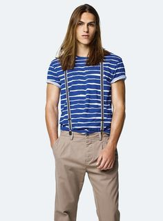 #Benetton #SS17 #collection #trend #fashion #man #tshirt #stripes #blue #trousers #brown