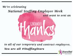 A BIG thank you for #NationalStaffingEmployeeWeek from #DSS #companyculture