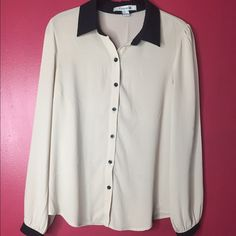 Beige blouse with black collar and buttons Long sleeve beige blouse great for work worn over dressy pants or tucked into a skirt. Please feel free to leave comments and make offer but no trades!  Forever 21 Tops Blouses