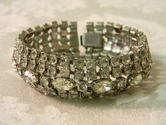 Vintage Wide Marquis Rhinestone Cuff Bracelet by TheVintageBrides on Etsy, $55.00