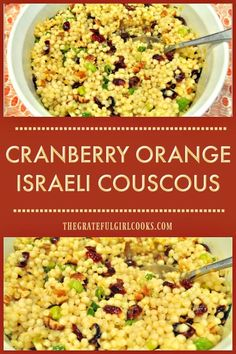 Cranberry Orange Israeli Couscous / The Grateful Girl Cooks! You'l love this easy to make, delicious cranberry orange Israeli couscous and pecan salad, topped with a wonderful homemade orange herb vinaigrette! via The Grateful Girl Cooks! Pearl Couscous Recipes, Pearl Couscous Salad, Israeli Couscous Salad, Couscous Salad Recipes, Couscous Salad Dressing, Cooking Couscous, Chicken Couscous, Cranberry Recipes, Orange Recipes