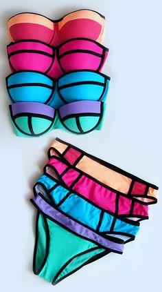 Noontide Black and Fuchsia Bikini