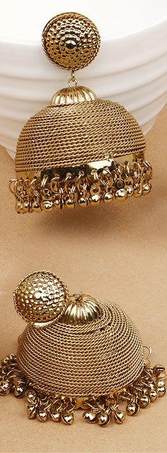 Plain Metal Gold Plated Jhumki Earrings Johareez.com