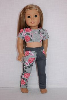 18 inch doll clothes grey floral print crop top by UpbeatPetites