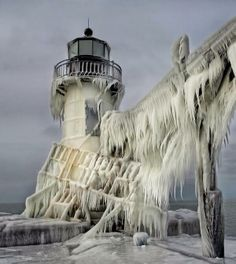 Lighthouse after Ice storm.