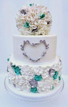 Teal and Silver Ruffle wedding Cake  ~ all edible