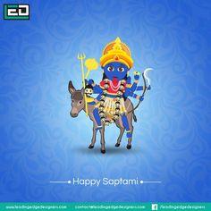 Happy Saptami to all.Enjoy the Navratri Saraswati Goddess, Shiva Shakti, Durga Maa, Kali Hindu, Hindu Art, Event Poster Design, Poster Designs, Durga Painting, Happy Navratri