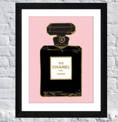 "Paris illustration - ""Chanel Perfume"" 9"" x 12"" COCO Chanel Parfum - Black Pink Home Decor Art Prints - Typography on Etsy, $12.00"