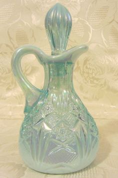 "Mosser Glass Aqua Opalescent Carnival ""Diamond"" Pattern 6 1/8"" Cruet"
