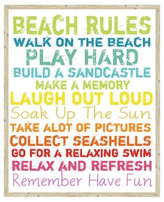 Beach Rules Sign, Colorful   Ocean View   One Kings Lane