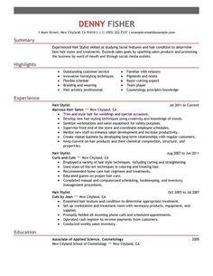 hair stylist resume samples