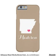 Arkansas Heart Mocha Brown Custom Monogram Barely There iPhone 6 Case