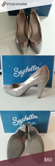 🆕 Seychelles silver polka dot pumps sz 7.5 😍👠 Beautiful brand new super cute pumps! I love them so much I tried everything to make them work but they're just too big 💔 for me. So now, with a heavy heart, they're here for sale. Get them before I change my mind! Lol Seychelles Shoes Heels