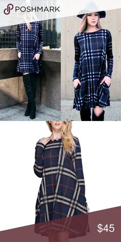 🆕SARABETH plaid shift dress - BLUE Hidden side pockets. How darling is this plaid sweater knit dress. Such fun & warm colors for this upcoming season.   ‼️‼️PIC 1 is just to show you style of dress, PIC 2 IS ACTUAL PATTERN‼️‼️  🚨NO TRADE, PRICE FIRM🚨 Bellanblue Dresses