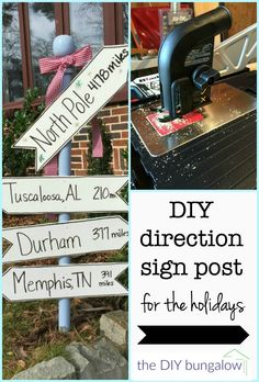 How to make a DIY holiday direction sign post - theDIYbungalow.com