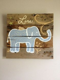 Elephant 20x20 Rustic Wall Art on WoodPallet by RusticTreeHouse
